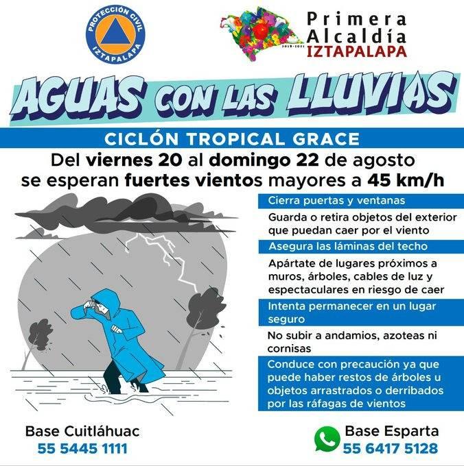 Iztapalapa pide prevenirse ante posibles vientos y precipitaciones por huracán Grace