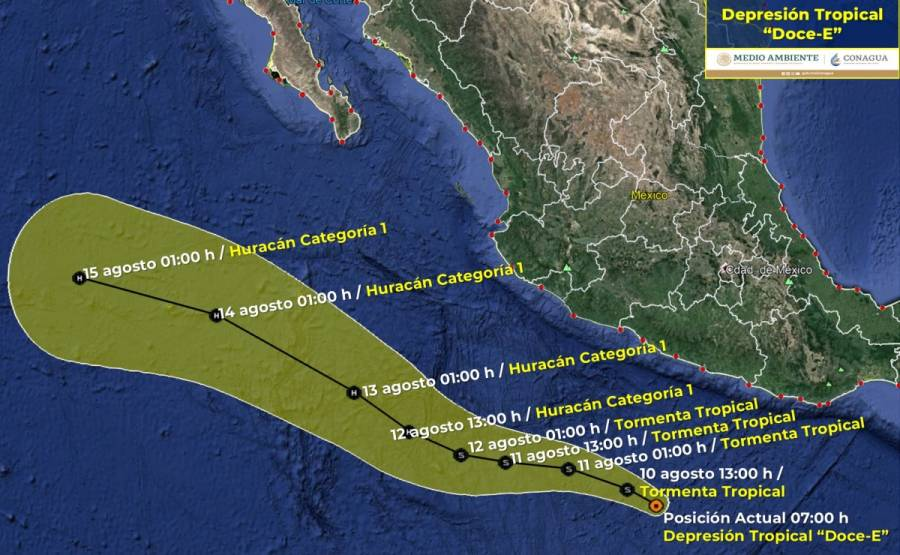 Se forma depresión tropical 14-E; afectará de la costa de Chiapas hasta Michoacán
