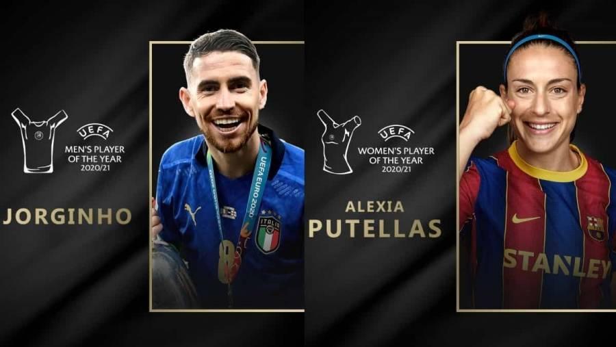 Jorginho y Alexia Putellas galardonados como mejores jugadores de la UEFA