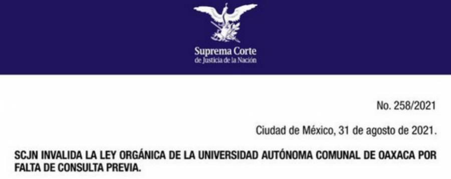 SCJN invalida Ley Orgánica de la Universidad Autónoma Comunal De Oaxaca por falta de consulta previa