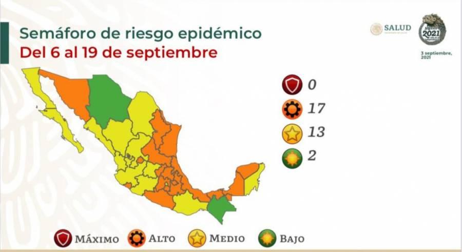 Así queda el semáforo epidemiológico en México, ningún estado en rojo