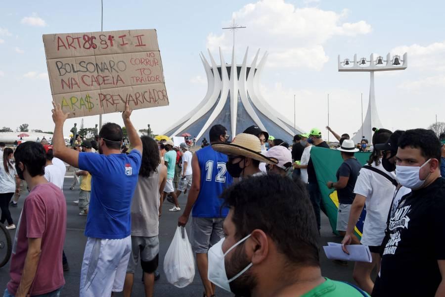 Protestan contra el régimen de Bolsonaro