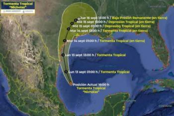 La tormenta tropical Nicholas podría bordear la costa de Tamaulipas e intensificarse a huracán