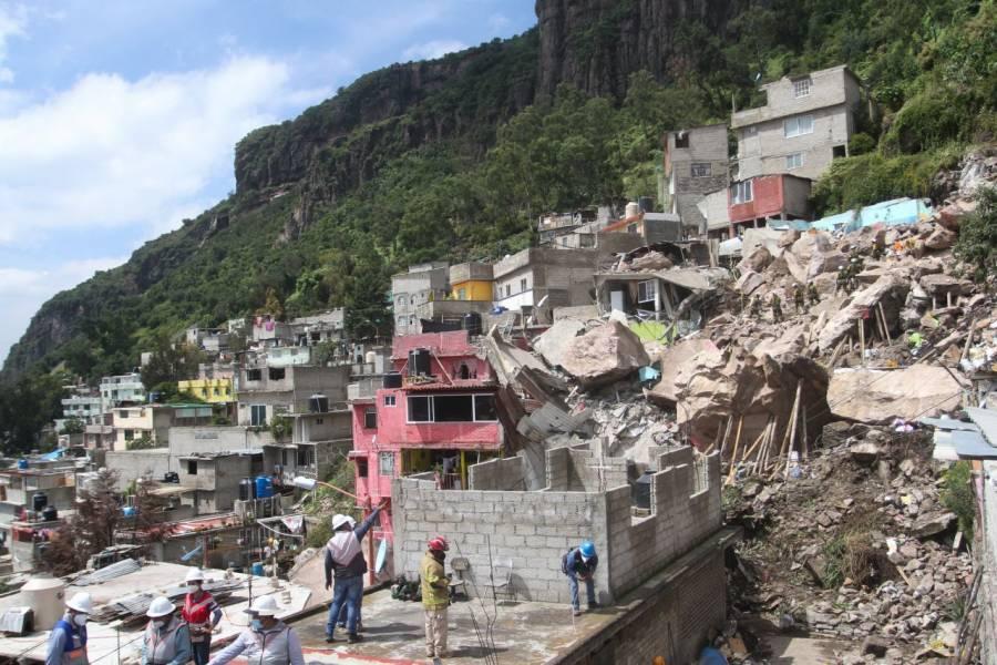 Protección Civil en Edomex, pide desalojar viviendas en el Cerro del Chiquihuite