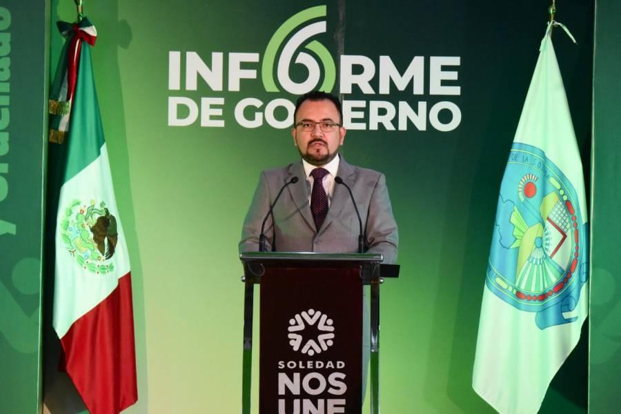 Durante el sexto informe de gobierno, Gerardo Zapata aseguró que el municipio de Soledad es más justo, solidario e incluyente