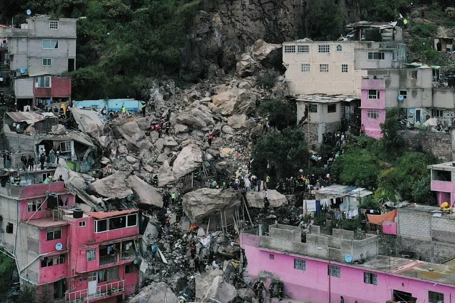 Alistan alternativas para reubicar a afectados por derrumbe en Cerro del Chiquihuite