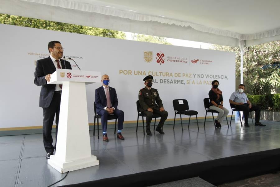 """""""Sí al Desarme, Sí a la Paz"""", ayuda a disminuir la violencia en la CDMX: Martí Batres"""