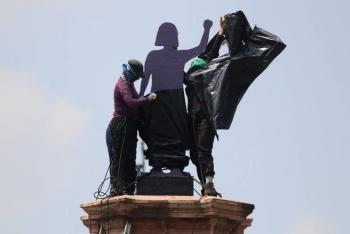 Antimonumento feminista podría quedarse en glorieta de Colón: Claudia Sheinbaum