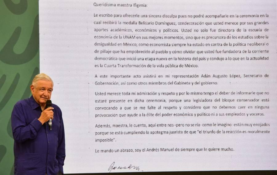 AMLO no irá a entrega de medalla Belisario Domínguez por llamado de Lili Téllez a faltarle el respeto