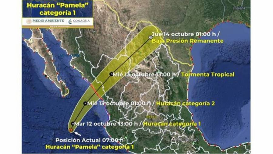 Pamela se fortalece a huracán categoría 1 frente a costas de Jalisco