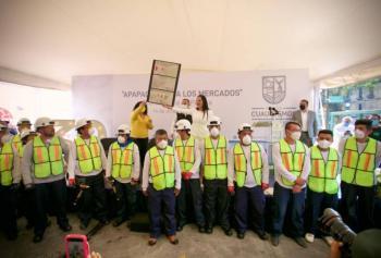 Sandra Cuevas inicia obras de remodelación en 39 mercados