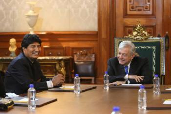 Evo y AMLO se reunieron en Palacio Nacional