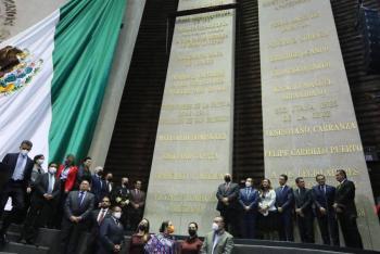 """La Cámara de Diputados inscribió en el Muro de Honor, la Leyenda: """"2021, Bicentenario de la Armada de México"""""""