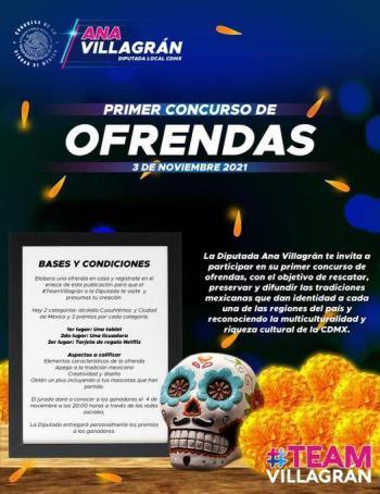 Diputada Ana Villagrán invita a participar en concurso de ofrendas