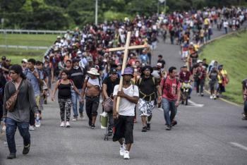 …Y continúan su recorrido, ayer llegaron a la ciudad de Huixtla, Chiapas