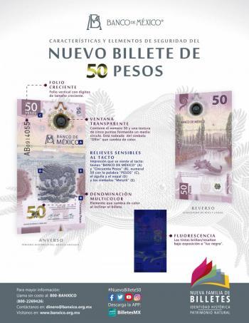 ¡Conoce el nuevo billete de 50 pesos!