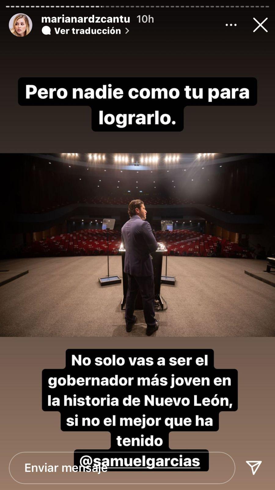 Mariana Rodríguez le desea éxito al nuevo gobernador de Nuevo León, Samuel García