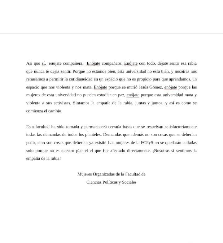 Encapuchadas de FCPYS reprochan a las autoridades nula atención a violencia en la UNAM