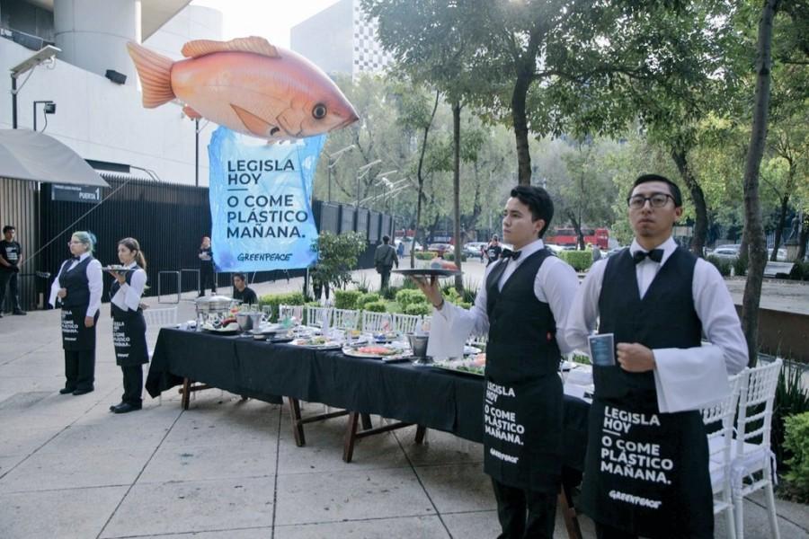 Greenpeace protesta en el Senado con un banquete de plástico