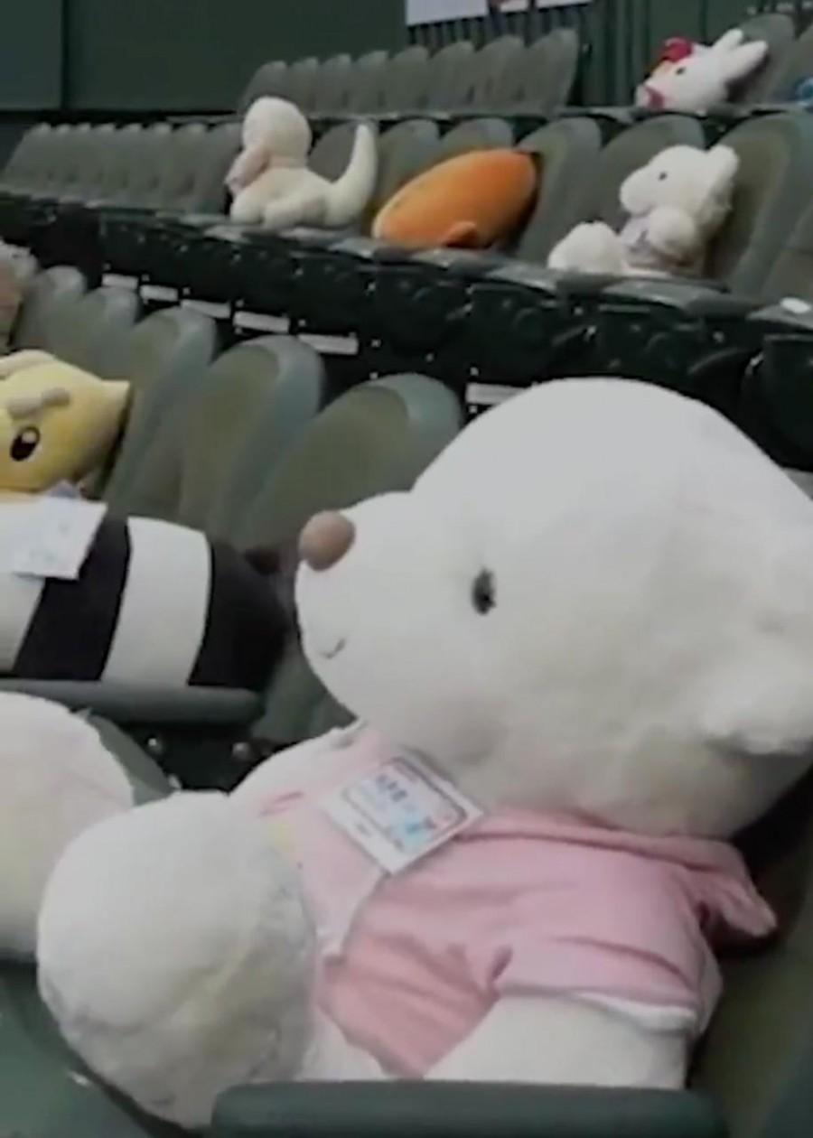 Ante falta de afición, peluches observan los partidos de béisbol