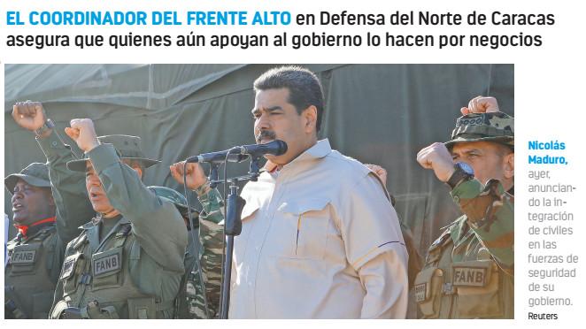 Células armadas restan su apoyo a Nicolás Maduro