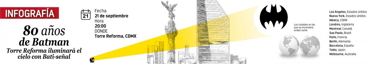 80 años de Batman Torre Reforma iluminará el cielo con Bati-señal