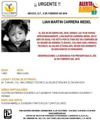 Activan Alerta Amber, para localizar a menor de edad extraviado en Iztapalapa